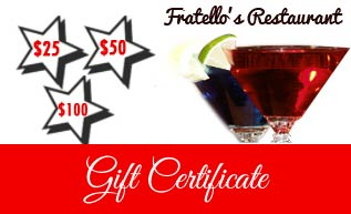 gift certificate Sea Girt Restaurant NJ Bar Monmouth County Fratellos